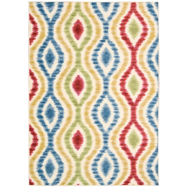 Aura of Flora Optical Delights Brown/Blue Area Rug by Waverly