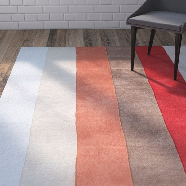 Gravley Hand-Woven Red/Beige Area Rug by Brayden Studio