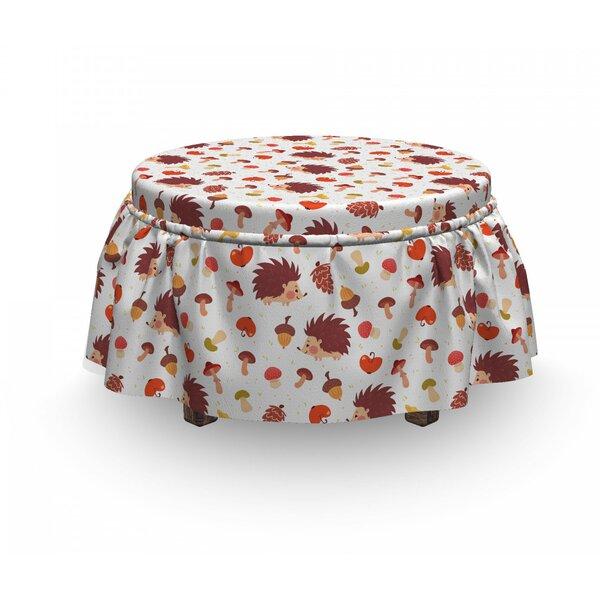 Mushroom Autumn Hedgehog Acorns 2 Piece Box Cushion Ottoman Slipcover Set By East Urban Home