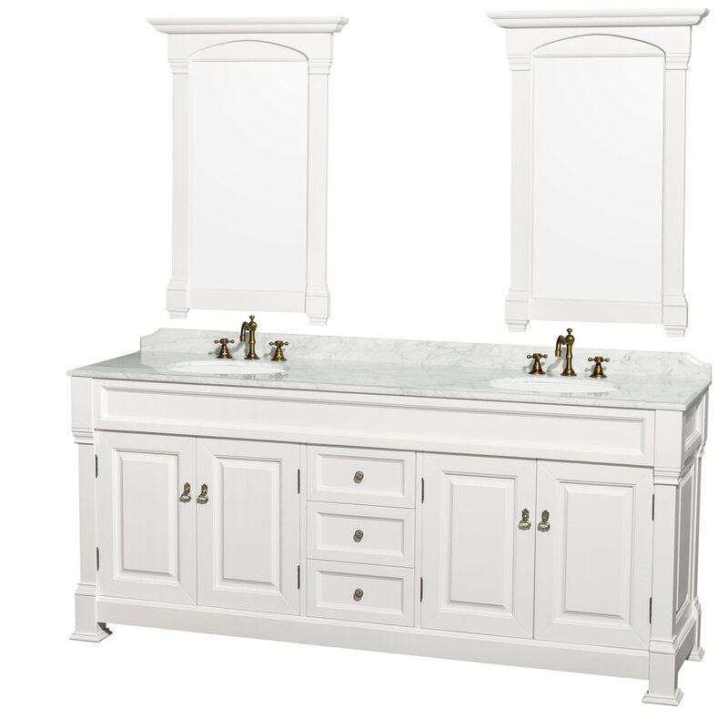 Andover 80 Double White Bathroom Vanity Set With Mirror