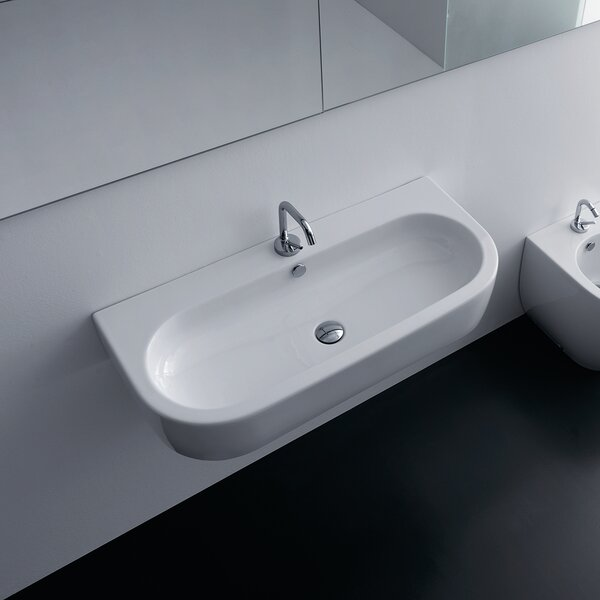 Flo Ceramic 36 Wall Mount Bathroom Sink with Overflow by WS Bath Collections