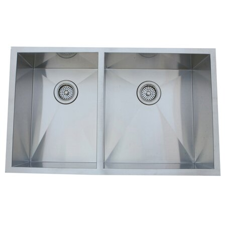33 L x 20.06 W Undermount Offset Double Bowl Kitchen Sink by Elements of Design