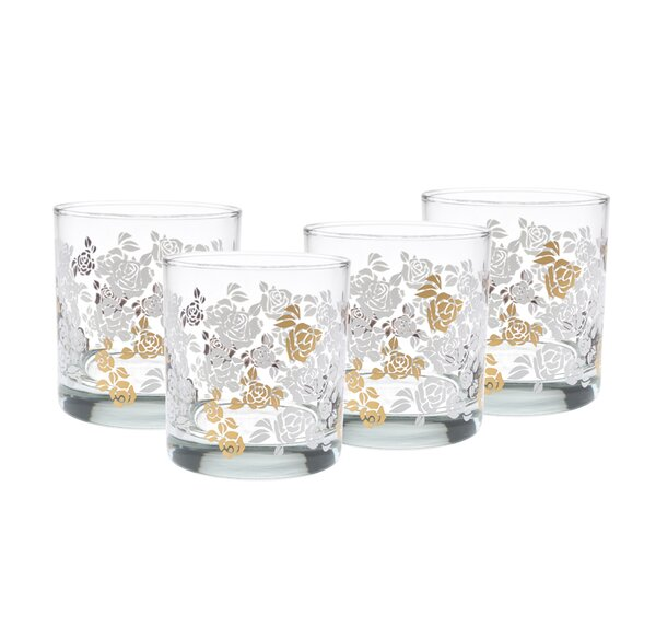Whiddon Gold 22k White Roses 11 Oz. Old Fashion Glasses (Set of 4) by Willa Arlo Interiors