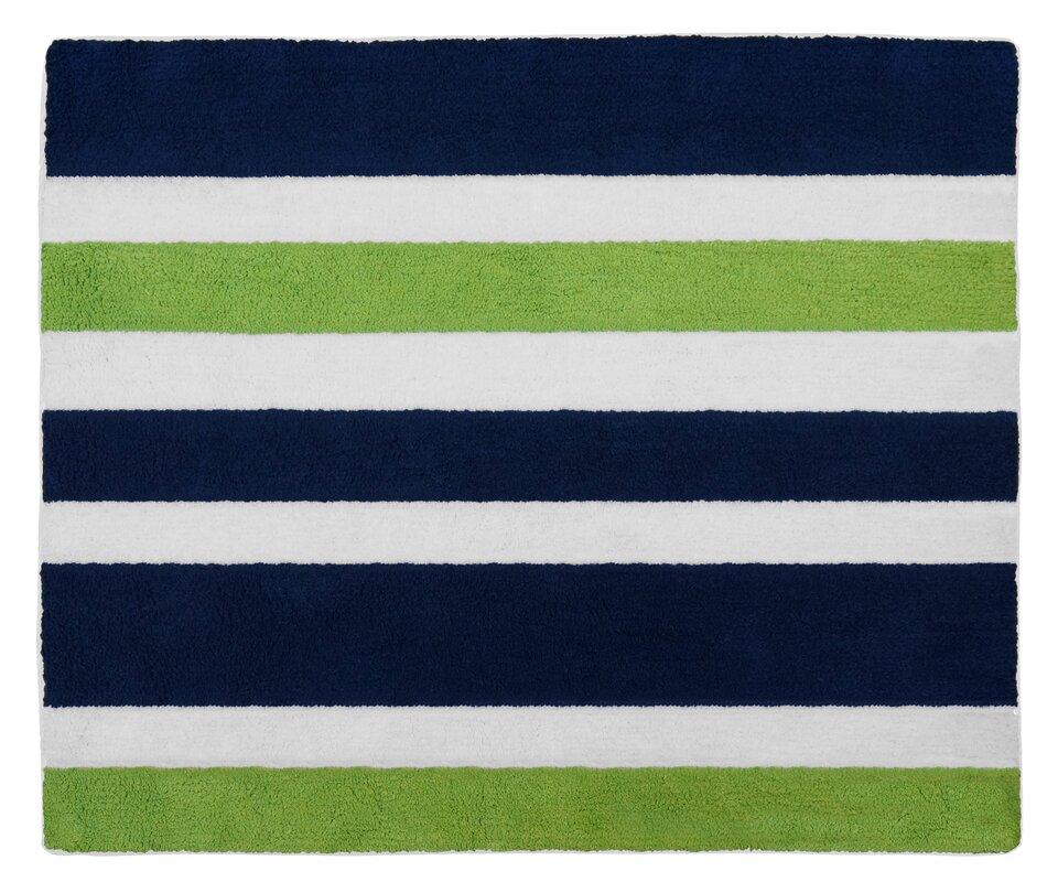 Navy Blue And Lime Green Stripe Bath Rug