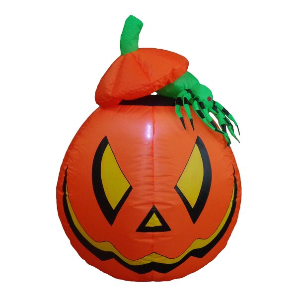 Lighted Halloween Inflatable Pumpkin with Spider Indoor/Outdoor Decoration by BZB Goods