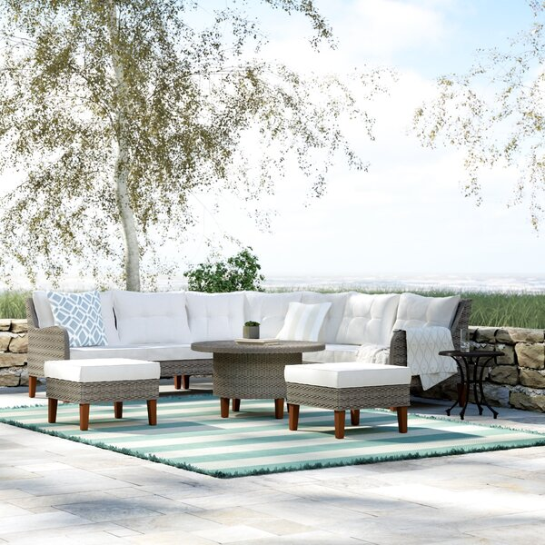 Cearley 6 Piece Rattan Sectional Seating Group with Cushions by Rosecliff Heights