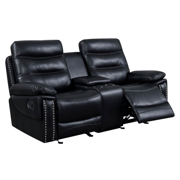 Heitz Contemporary Love Seat Leather Manual Wall Hugger Recliner [Red Barrel Studio]