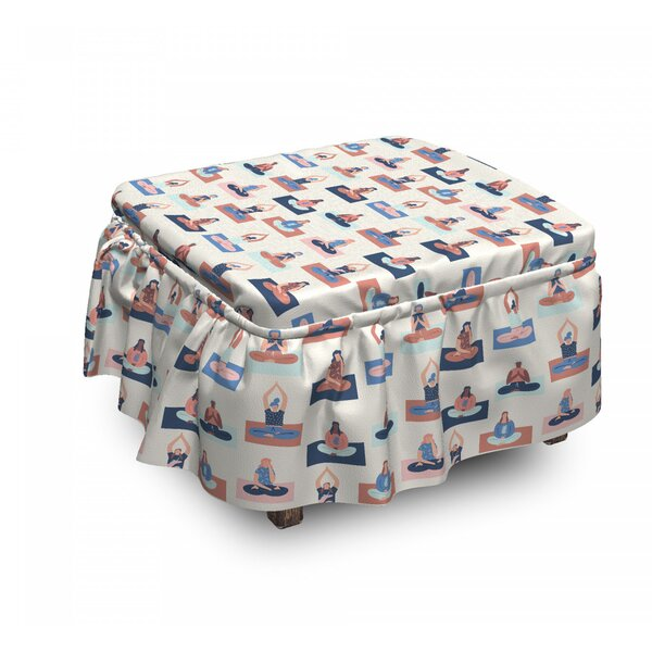 Stretching Relaxing Meditating Ottoman Slipcover (Set Of 2) By East Urban Home