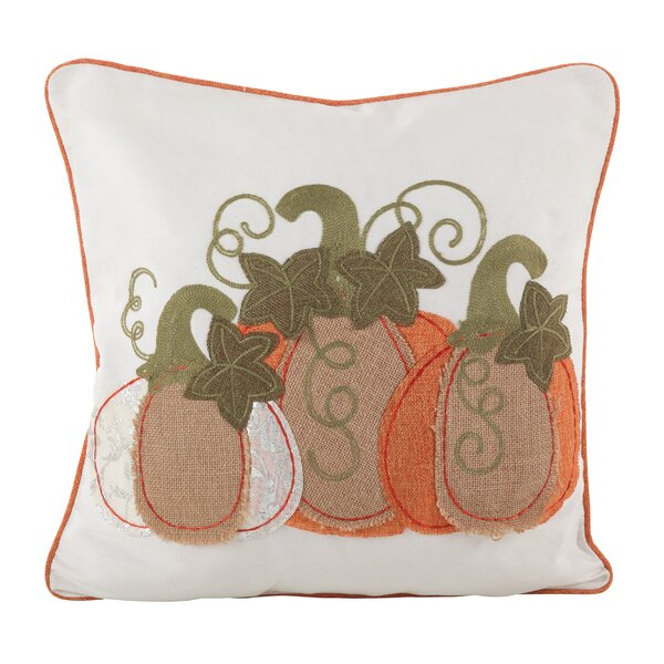 Burlap Pumpkin Applique Design Decorative Throw Pillow by The Holiday Aisle