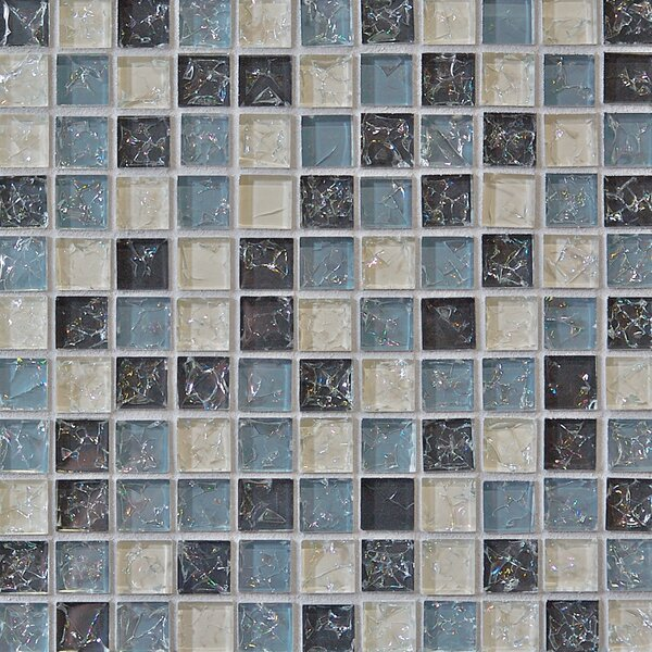 Crinkle 1 x 1 Glass Mosaic Tile in Icicle by Grayson Martin