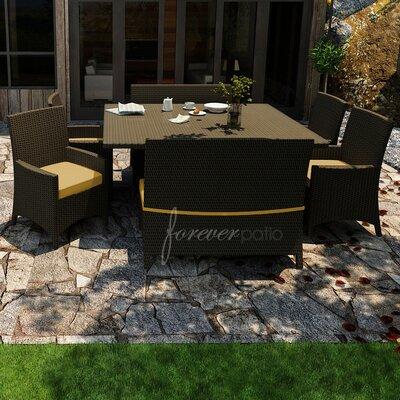 Hampton 7 Piece Dining Set with Sunbrella Cushions Forever Patio Fabric: Canvas Wheat / Spectrum Mushroom Welt