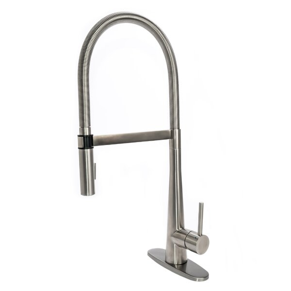 Gourmet Spring Pull Down Single Handle Kitchen Faucet with Deck Plate by Fontaine by Italia