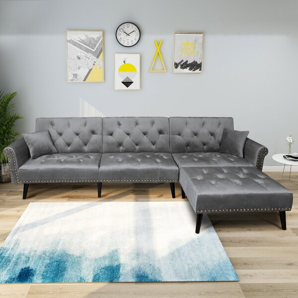 Gratton Reversible Sleeper Sectional with Ottoman by Everly Quinn