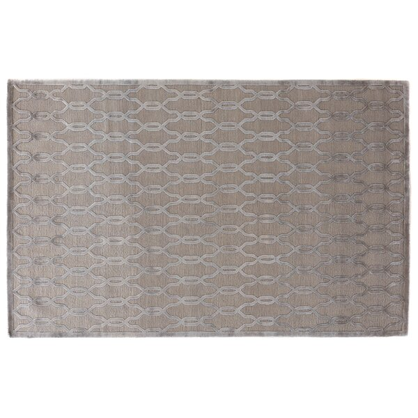 Harmony Hand Knotted Wool/Silk Light Silver Area Rug