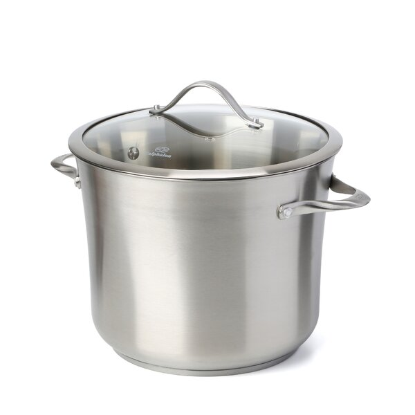 Contemporary Stainless Steel Stock Pot with Lid by Calphalon