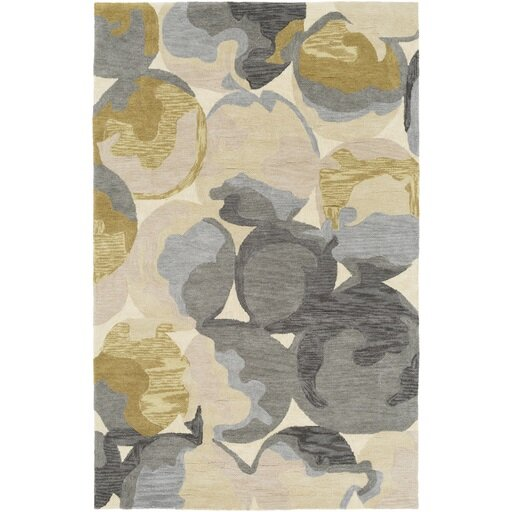 Dittmar Hand-Tufted Rectangle Yellow/Gray Area Rug by Ebern Designs