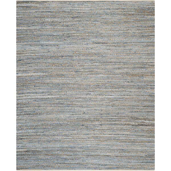 Gilchrist Hand-Woven Natural/Blue Area Rug by Beachcrest Home