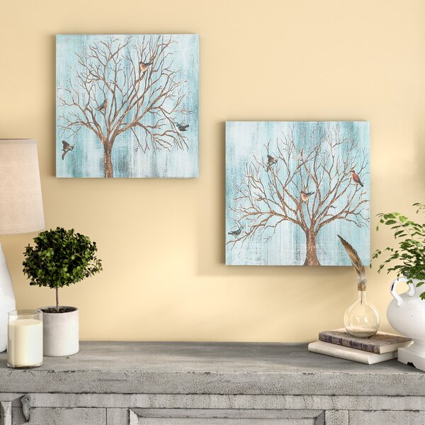 Natural Deciduous Tree with Birds 2 Piece Framed Print Set by August Grove