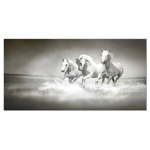 'Horses Running Through Water' Graphic Art on Wrapped Canvas by Design Art