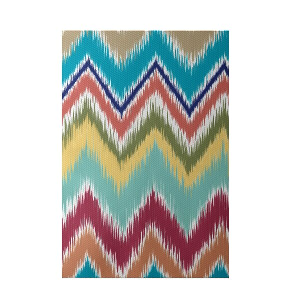 Ikat-arina Stripe Print Caribbean Indoor/Outdoor Area Rug by e by design