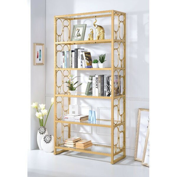 Gates Glass Metal Standard Bookcase by Everly Quinn