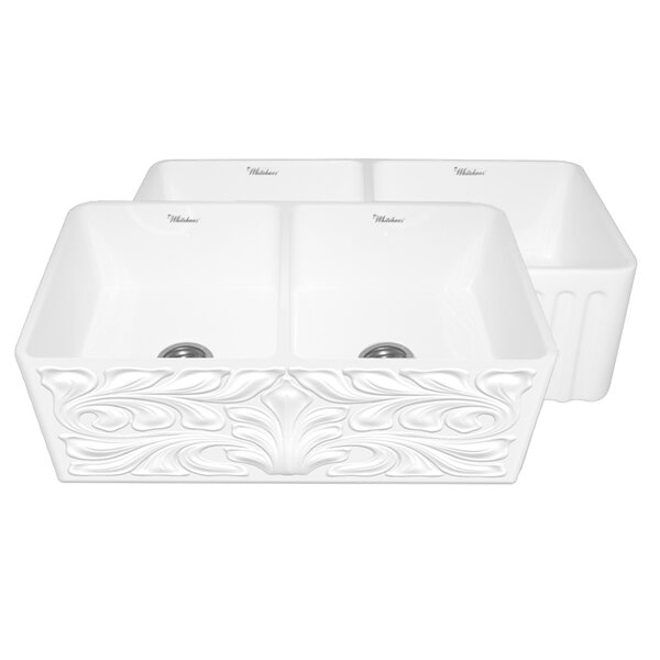Gothichaus 33 L x 18 W Reversible Double Bowl Fireclay Kitchen Sink by Whitehaus Collection