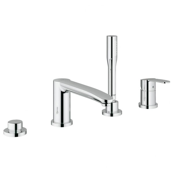 Eurostyle Two Handle Deck Mounted Roman Tub Faucet with Hand Shower by Grohe
