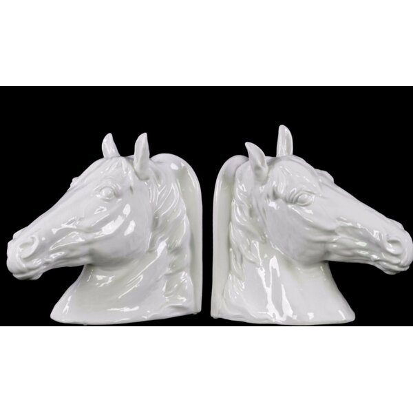 Ceramic Horse Head Bookends (Set of 2) by Gracie Oaks