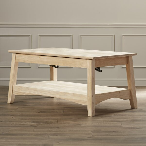 Unfinished Wood Bombay Coffee Table with Lift Top by International Concepts