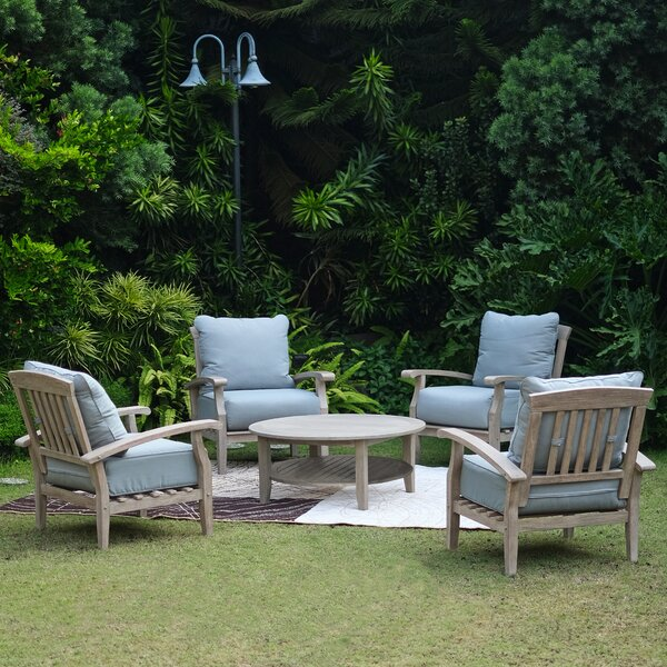 Summerton 5 Piece Teak Multiple Chairs Seating Group with Cushions (Set of 5) by Birch Lane™ Heritage