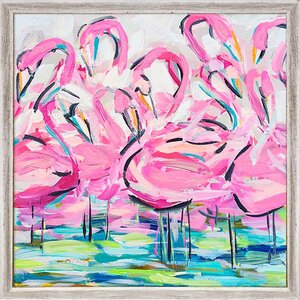 'Flamingos In A Flock' Framed Print on Canvas by Bayou Breeze
