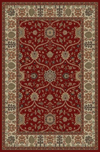 Edmont Jewel Voysey Red Floral Area Rug by World Menagerie