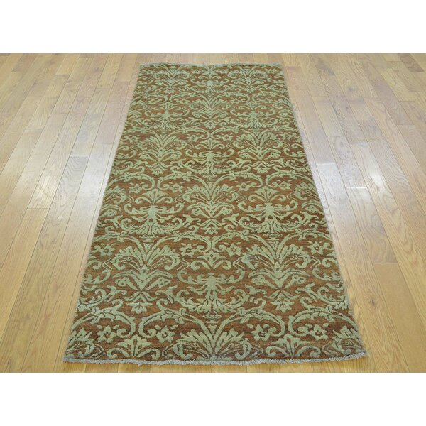One-of-a-Kind Bean Damask Handwoven Brown Wool/Silk Area Rug by Isabelline