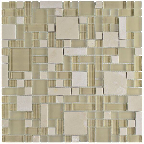 Sierra Random Sized Glass/Stone Mosaic Tile in Versailles Sandstone by EliteTile