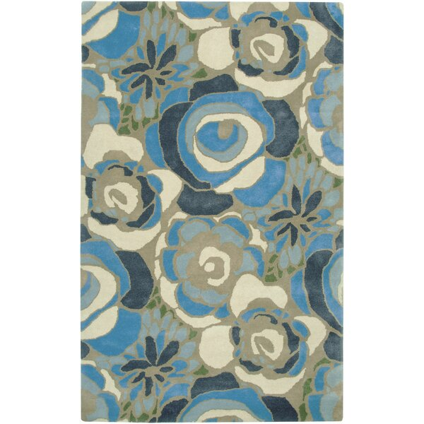 Nantes Hand-Tufted Blue/Cream Area Rug by Meridian Rugmakers