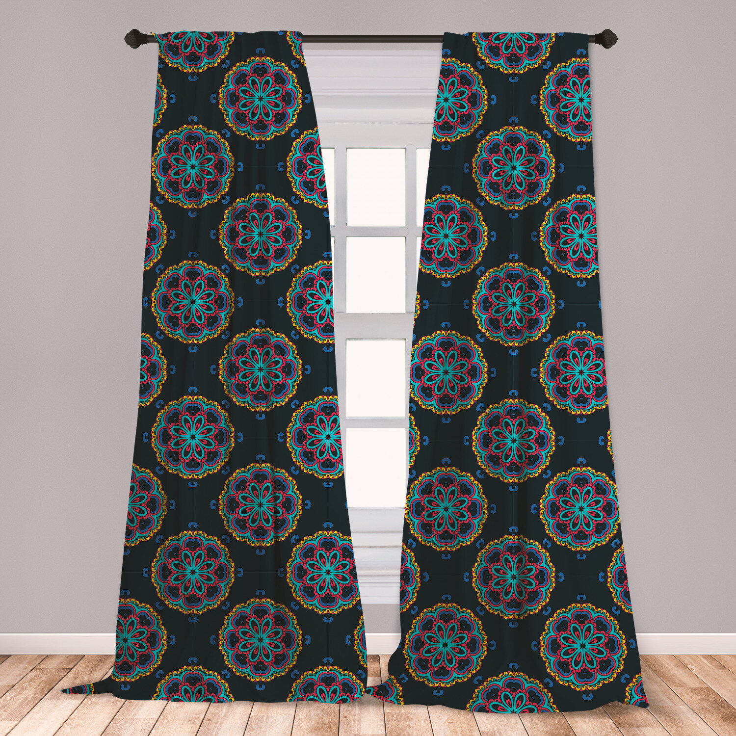 East Urban Home Ambesonne Colorful Curtains Composition With Doodle Foliage And Leaves Blooming Nature Theme Ethnic Window Treatments 2 Panel Set For Living Room Bedroom Decor 56 X 63 Multicolor Wayfair