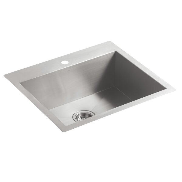 Vault 25 L x 22 W x 9.31 Top-Mount/Under-Mount Medium Single-Bowl Kitchen Sink with Single Faucet Hole by Kohler