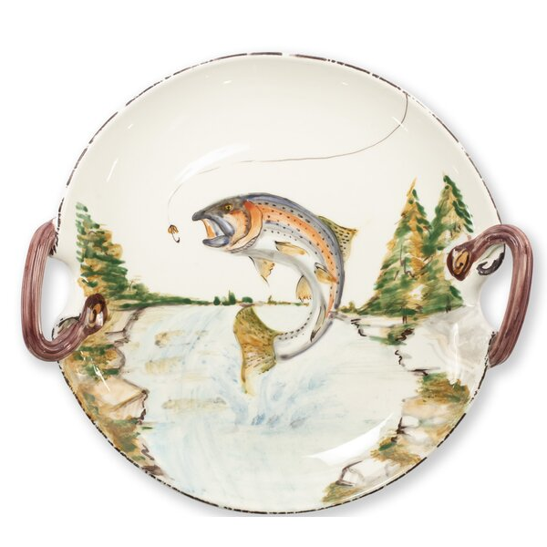 Wildlife Rainbow Trout Handled Round Platter by VIETRI