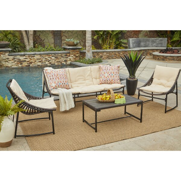 Crick 4 Piece Sofa Set with Cushions by Wrought Studio