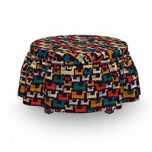 Cartoon Animals Composition Ottoman Slipcover (Set Of 2) By East Urban Home