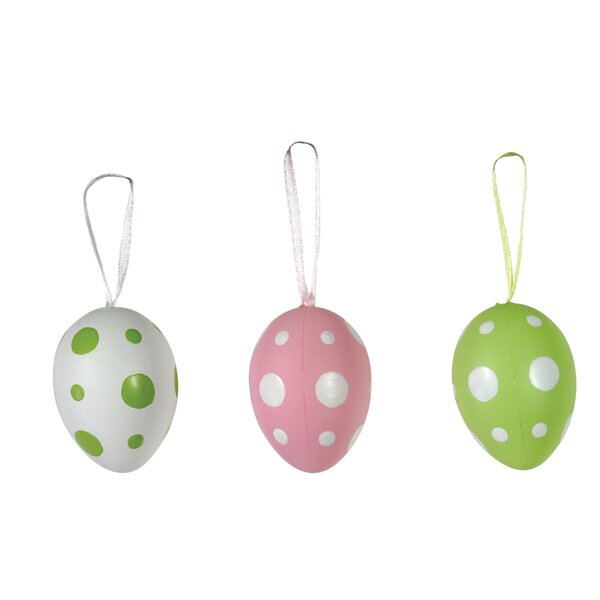 12 Piece Polka Dot Egg Pod Ball Ornament Set by Boston International