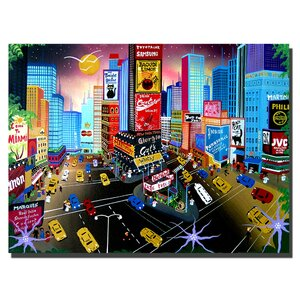 Times Square by Herbet Hofer Framed Painting Print on Wrapped Canvas by Trademark Fine Art
