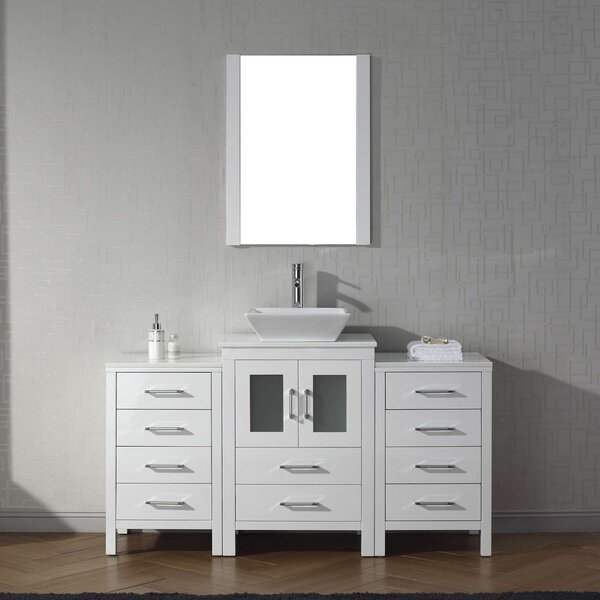 Cartagena 60 Single Bathroom Vanity Set with White Stone Top and Mirror by Mercury Row