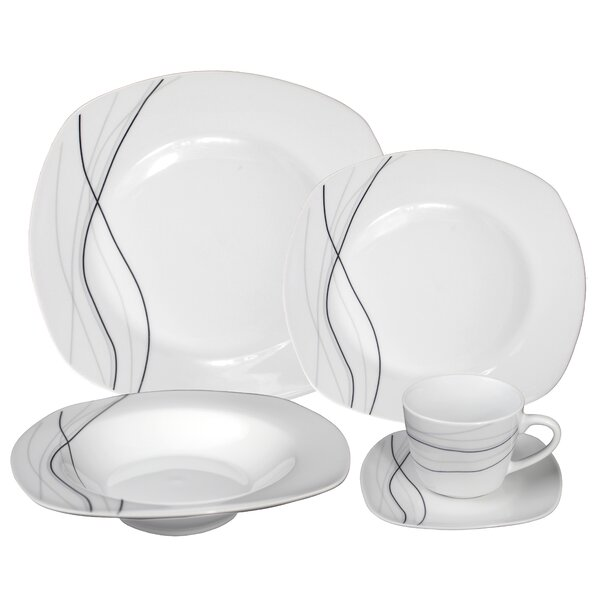 Porcelain 20 Piece Dinnerware Set, Service for 4 by Lorren Home Trends