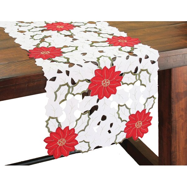 Holiday Poinsettia Embroidered Cutwork Table Runner by Xia Home Fashions