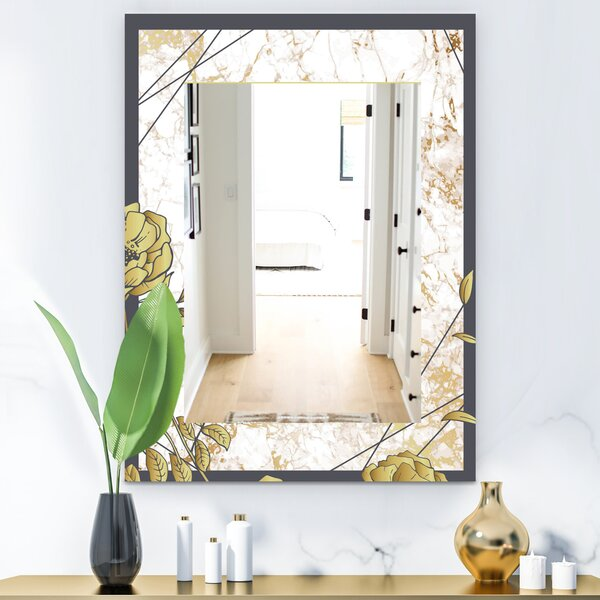 Botanical Blooming Traditional Frameless Vanity Mirror