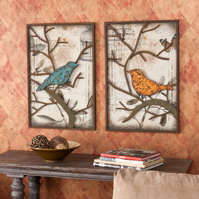 Beautiful 2 Piece Vintage Bird Wall Décor Set
