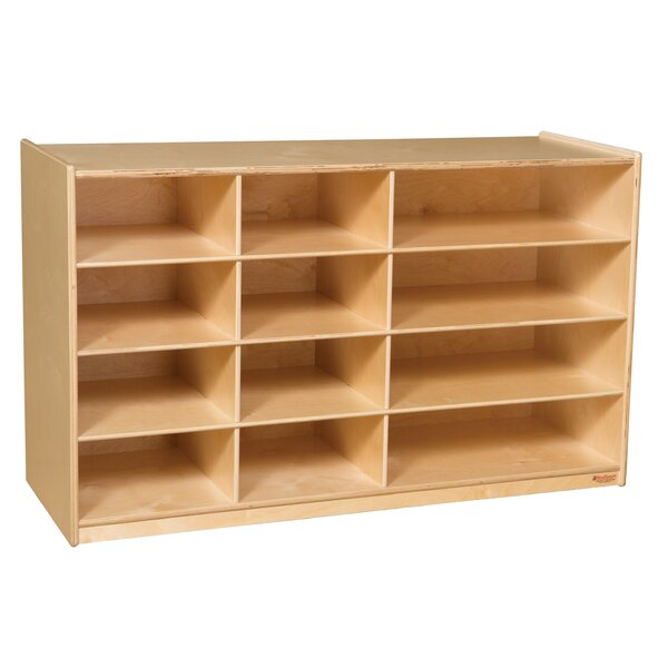 Portable 12 Compartment Shelving Unit with Casters by Wood Designs