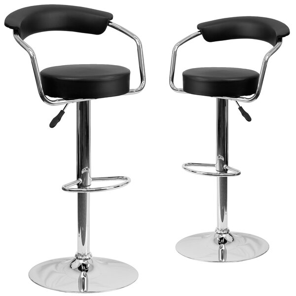 Damian Adjustable Height Swivel Bar Stool (Set of 2) by Wrought Studio