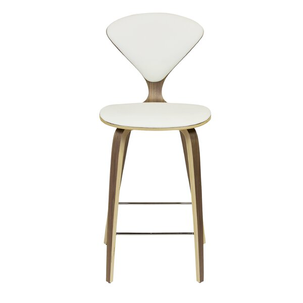 Weiss White Leather 29 Bar Stool by Corrigan Studio